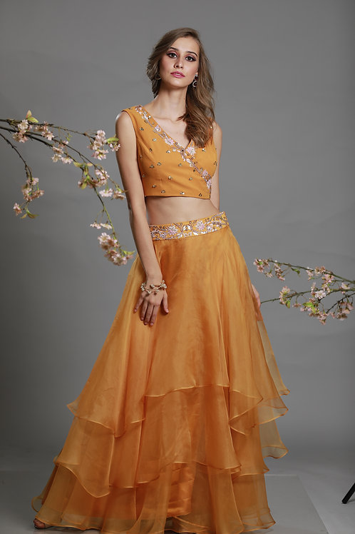 crop top in angrakha and 3 layered skirt