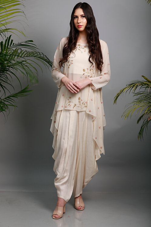 ivory A-cut top and dhoti