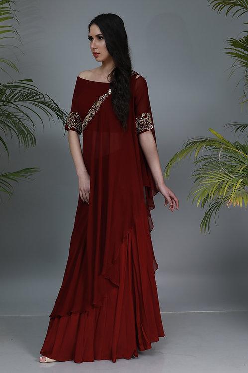 oxblood toga dress