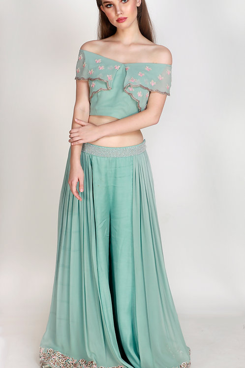 Flared Crop Top with Side Pleated Palazzo