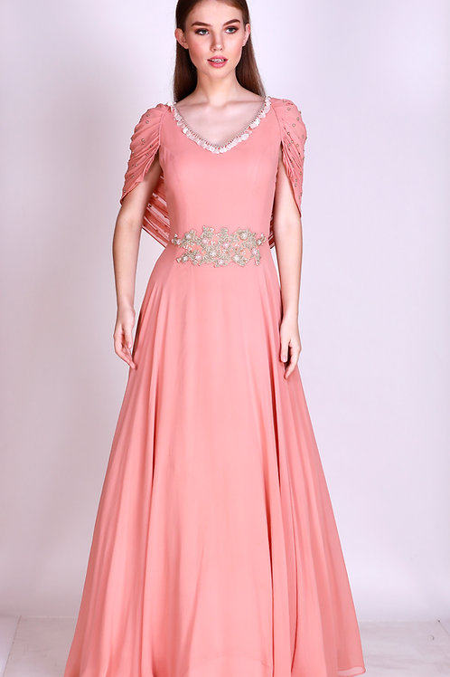 floor length gown with attached cowl cape