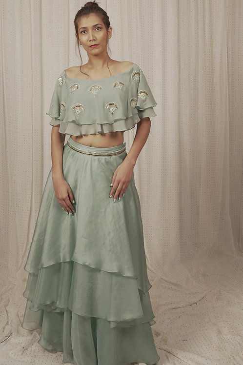 THREE LAYERED SKIRT AND EMBROIDED CAPE