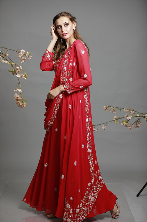 embroided dress with cape