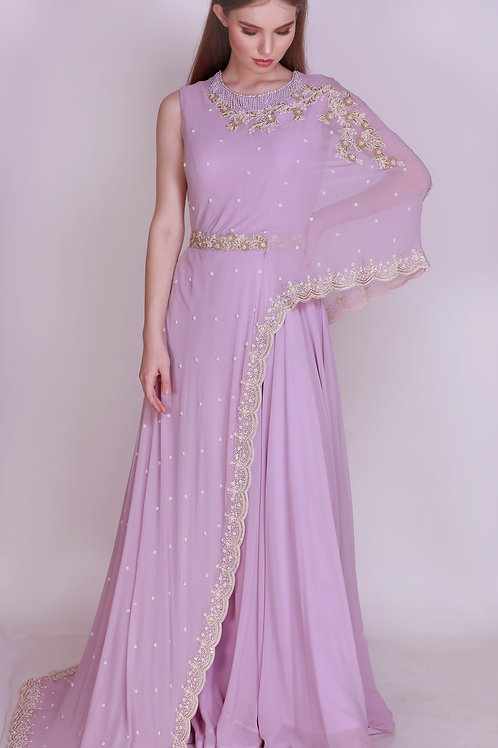 Floor Length Gown with Attached Cape