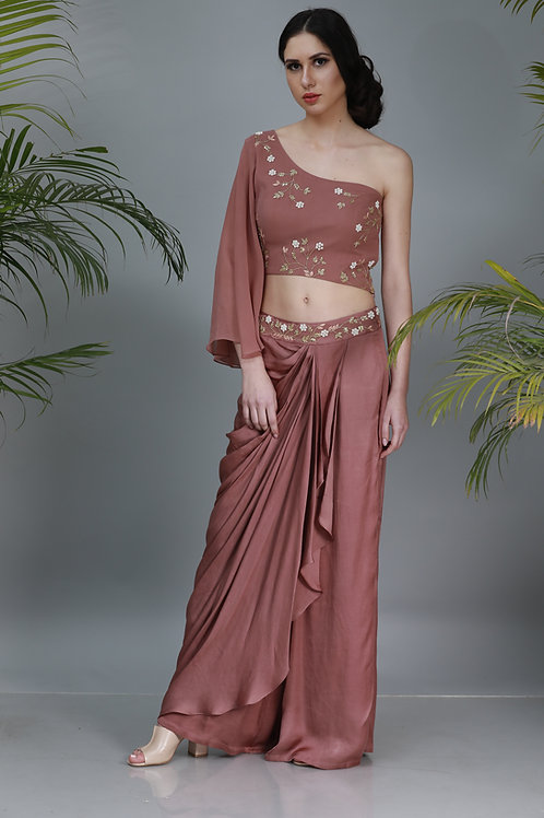 one shoulder top with lungi