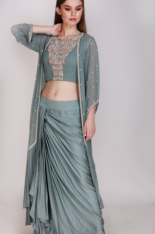 Crop Top with Dhoti & Long Cape