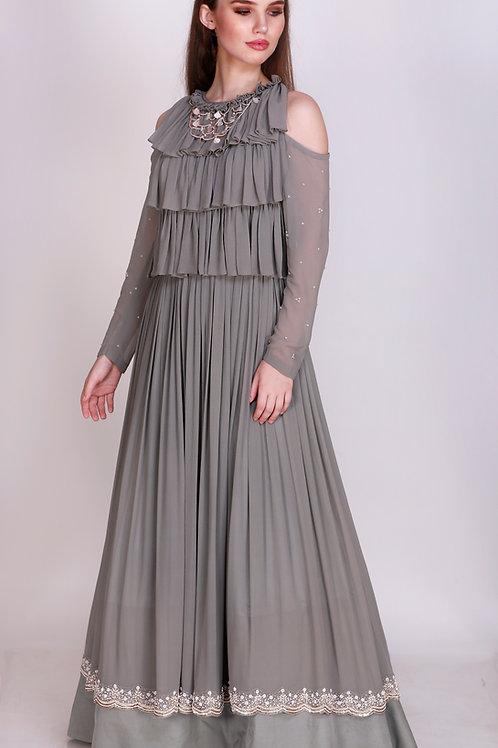 Cold Shoulder Floor Length Gown
