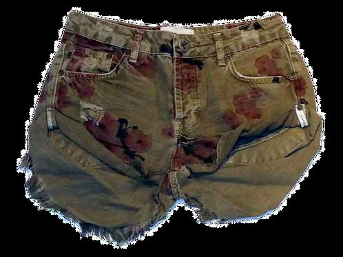 Womens One Teaspoon Khaki Hibiscus Bandits Shorts (HFOT-23259)