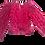 Thumbnail: Womens Ronny Kobo Eugina Fuchsi Puff Sleeve Cropped Top (HFRK-972930VBJ)
