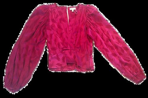 Womens Ronny Kobo Eugina Fuchsi Puff Sleeve Cropped Top (HFRK-972930VBJ)