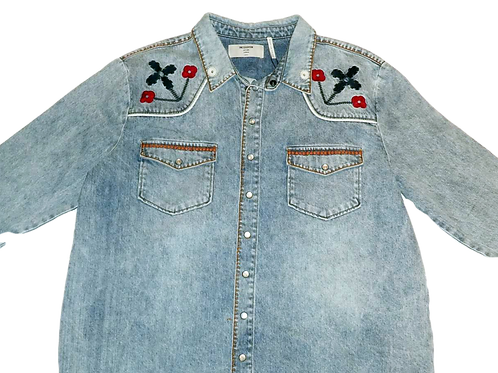 Womens One Teaspoon Woodstock Embroidered Soho Western Shirt (HFOT-23273)