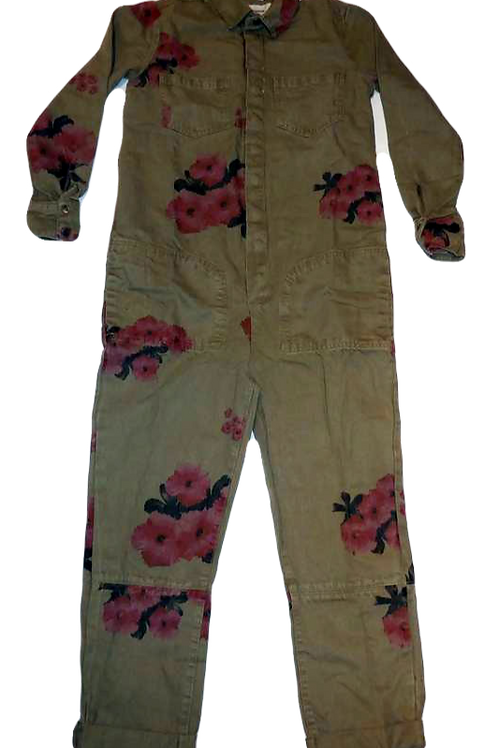 Womens One Teaspoon Khaki Hibiscus Paradise Overalls (HFOT-23261)