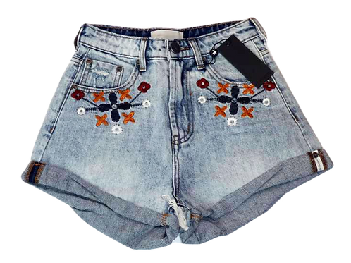 Womens One Teaspoon Embroidered HW Bandit Shorts (HFOT-23208)
