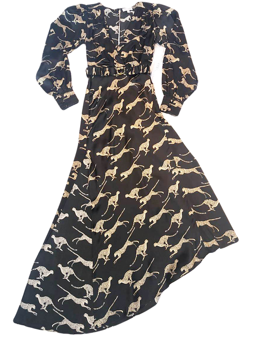 Womens Ronny Kobo Estelle Cheetah Wrap Midi Dress  (HFRK-0481755CHC)