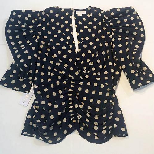 Womens Ronny Kobo Liliana Polka-Dot Puff Sleeve Blouse (HFRK-9640151DPR)