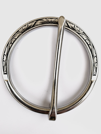 Stainless Scroll Leaf with Flower Cinch Buckle