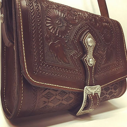 A new purse for a very special woman-- happy birthday mom! Hand-carved, hand-sewn leather with hand