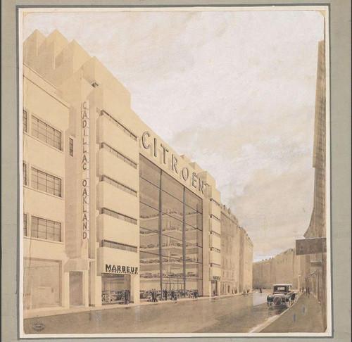 Le 16 Mars 1929, nauguration du mythique garage Marbeuf. Chef d'œuvre architectural qui ouvrira la voie aux autres lieux emblématiques de la Marque.