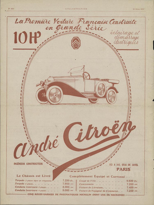 In 1919, the first Citroën Type A came out through an original advertisement ... already