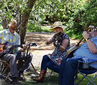 Farm Musicians in the Orchard