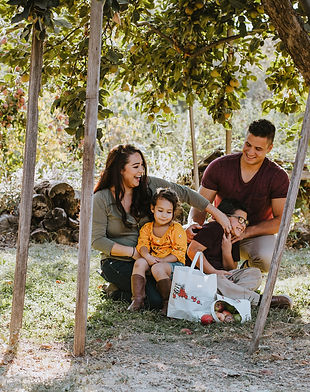 A family enjoying our heirloom apple orchards