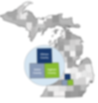 graphic of state of Michigan with close-up of Mid-Michigan's Clinton, Eaton, and Ingham counties