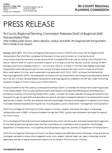 July 2015 Press Release
