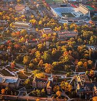 Aerial image of Michigan State University paths and stadium in the fall