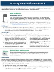 Drinking Water Well Maintenance