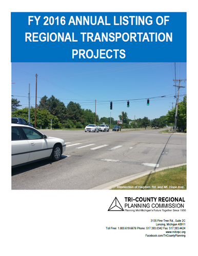 FY 2016 Annual Listing of Regional Transportation Projects