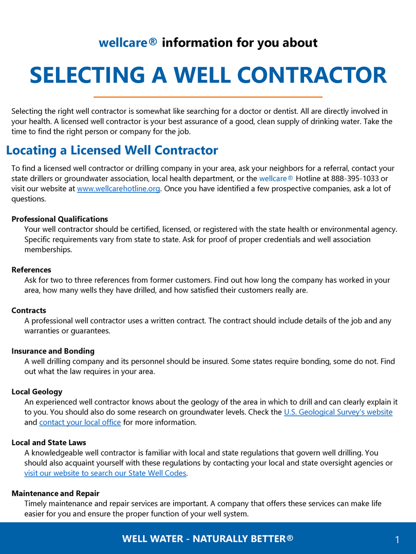 Selecting a Well Contractor