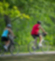 Male and female bicyclist on trail in the woods