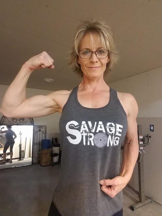 Kathy in gray ladies flowy tank