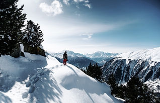 person on snowshoe hiking in Switzerland