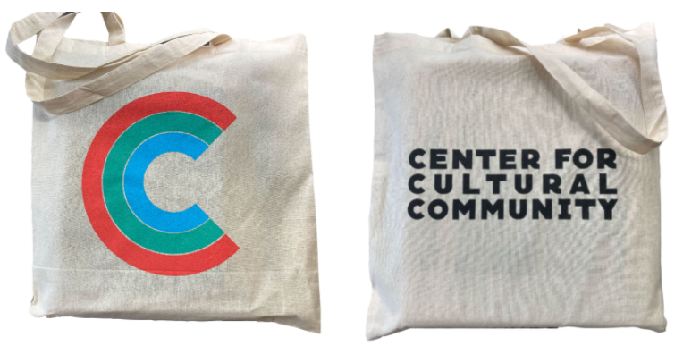 Images of each side of the CCC Tote Bag