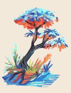 Bunter Baum stilisiert