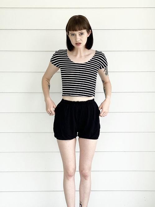 Staple SS Top in Black/White Stripe