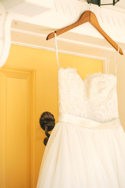 Wedding dress at the Boxwood Villa in Orange, Virginia.
