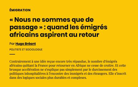 """Article dans AOC-Média : """"« Nous ne sommes que de passage » : quand les émigrés africains aspir"""