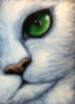 Art_ WHITE CAT EMERALD EYES by Artist Cy