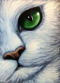 Art_ WHITE CAT EMERALD EYES by Artist Cy