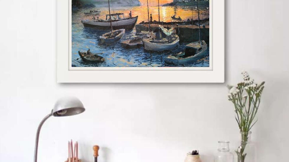 """Картина """"Яхты на закате"""""""