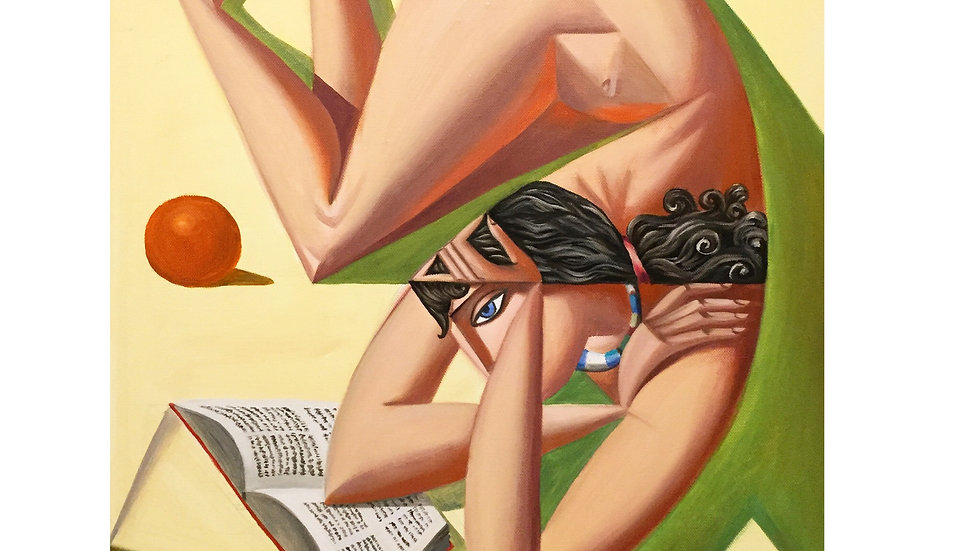 """""""Женщина, читающая книгу и апельсин"""""""