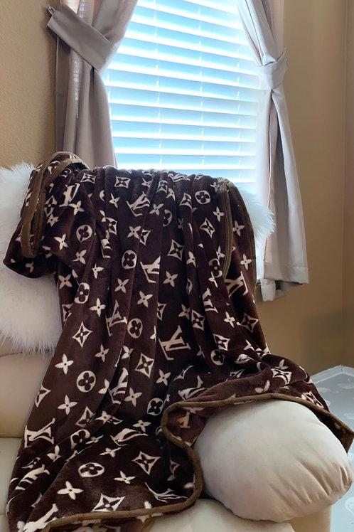LV inspired sofa blanket
