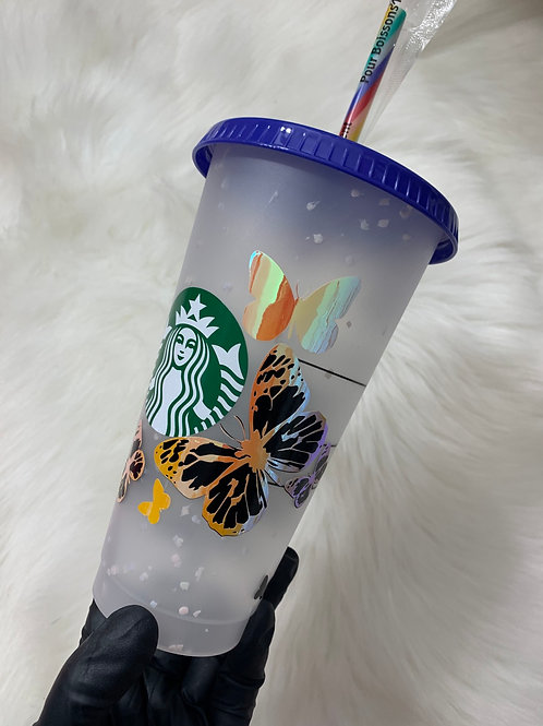 Holographic butterfly Confetti cup