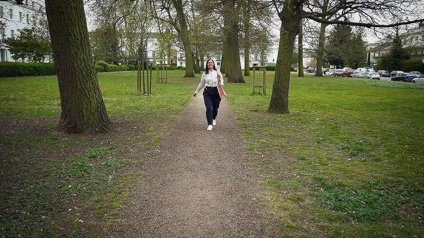 Jenny McDonald walking towards camera