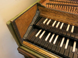 17th century harpsichord by Celini, keyboards following restoration process