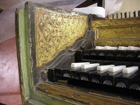 17th century harpsichord by Celini, part of decoration before restoration process