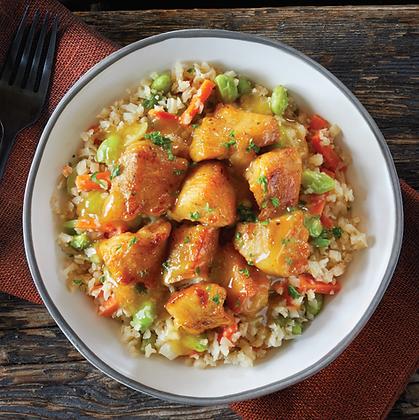 Unbreaded Orange Chicken & Cauliflower Rice Stir Fry Bowl