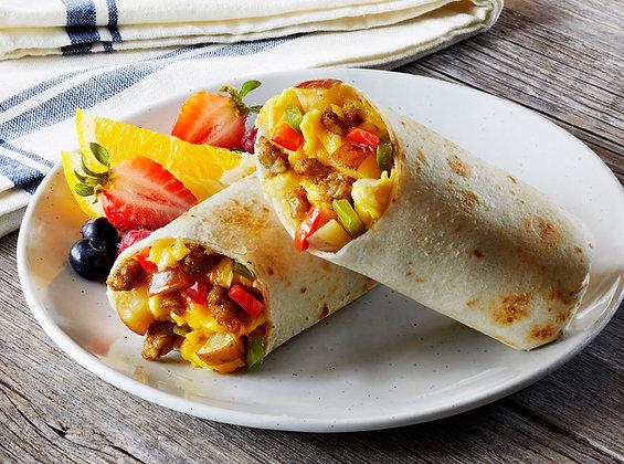 Chicken Sausage, Potato & Cheese Egg Scramble Burrito